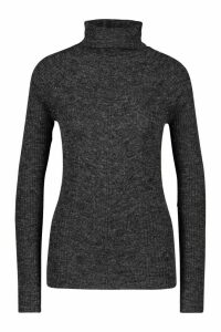 Womens Tall Rib Knit Roll Neck Jumper - black - L, Black