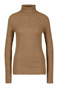 Womens Tall Rib Knit Roll Neck Jumper - beige - M, Beige