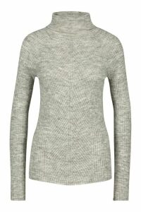 Womens Tall Rib Knit Roll Neck Jumper - silver grey - M, Silver Grey
