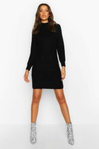 Womens Tall Ribbed Knitted Jumper Dress - black - M, Black
