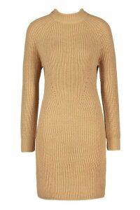 Womens Tall Ribbed Knitted Jumper Dress - beige - XS, Beige