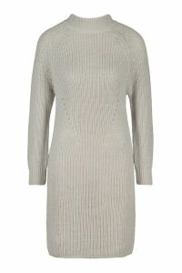 Womens Tall Ribbed Knitted Jumper Dress - grey - XS, Grey