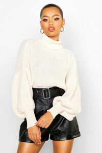 Womens Roll Neck Balloon Sleeve Knitted Jumper - white - S, White