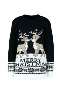 Womens Two Reindeers Merry Christmas Jumper - navy - M/L, Navy