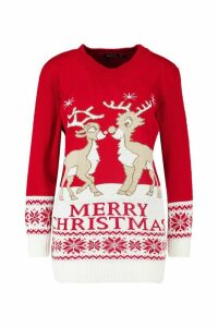 Womens Reindeers Christmas Jumper - red - M/L, Red