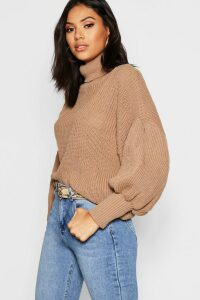 Womens Roll Neck Balloon Sleeve Knitted Jumper - Beige - L, Beige