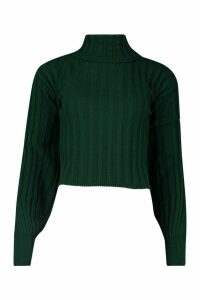 Womens Tall Balloon Sleeve Rib Roll Neck Jumper - Green - S/M, Green
