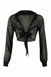 Womens Tall Sheer Polka Dot Tie Front Shirt - black - 12, Black