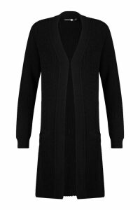 Womens Tall Knitted Longline Cardigan - black - M/L, Black