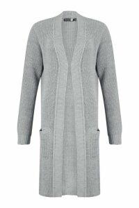 Womens Tall Knitted Longline Cardigan - grey - M/L, Grey