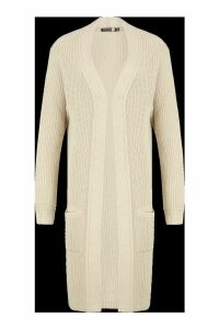 Womens Tall Knitted Longline Cardigan - light stone - M/L, Light Stone