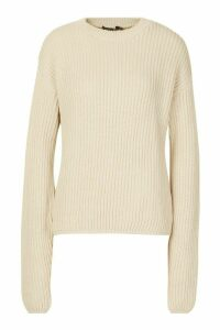 Womens Tall Drop Shoulder Chunky Jumper - beige - S, Beige