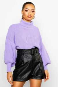 Womens Roll Neck Balloon Sleeve Knitted Jumper - purple - S, Purple