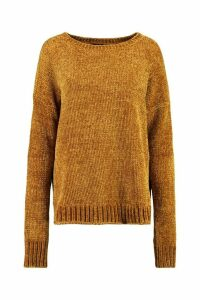 Womens Chenille Jumper - yellow - S/M, Yellow