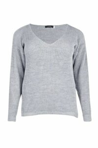 Womens Plus Oversized V Neck Jumper - grey - 20, Grey