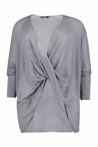 Womens Plus Wrap Front Knitted Jumper - grey - 18, Grey