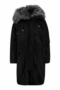 Womens Oversized Faux Fur Fly Hood Luxe Parka - black - 14, Black