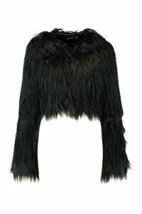 Womens Crop Shaggy Faux Fur Coat - black - 12, Black