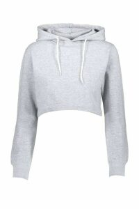 Womens Athleisure Oversized Crop Hoodie - grey - L, Grey