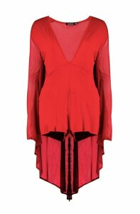 Womens Halloween Mesh Cape Plunge Playsuit - red - 12, Red
