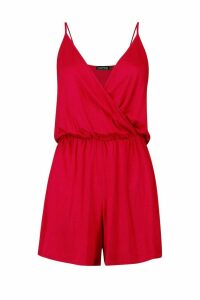 Womens Wrap Over Cami Playsuit - red - 8, Red