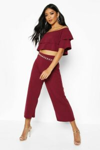 Womens Double Bandeau Top & Culotte Co-Ord Set - red - 14, Red