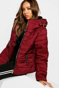 Womens Quilted Jacket - Red - L, Red