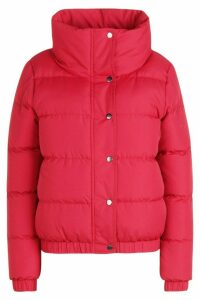 Womens Crop Funnel Neck Padded Jacket - red - 14, Red