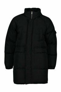 Womens Tall Lined Padded Coat - black - 10, Black