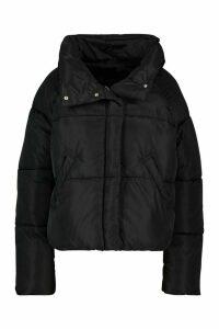 Womens Tall Crop Padded Funnel Neck Jacket - Black - 16, Black