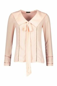 Womens Tie Front Woven Top - Pink - L, Pink