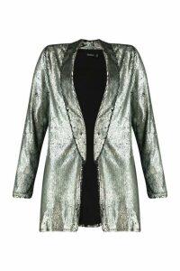 Womens Sequin Tailored Blazer - Grey - 12, Grey