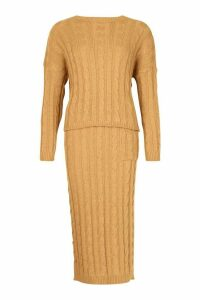 Womens Cable Knit Jumper And Skirt Set - beige - One Size, Beige