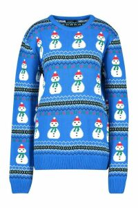 Womens Snowman Fairisle Christmas Jumper - blue - M, Blue