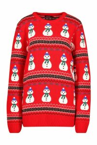 Womens Snowman Fairisle Christmas Jumper - red - S, Red