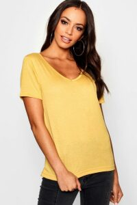 Womens Basic Super Soft V Neck T-Shirt - yellow - 16, Yellow