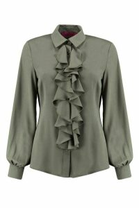 Womens Ruffle Detail Blouse - green - 12, Green