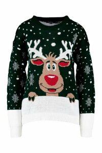 Womens Contrast Hem Reindeer Christmas Jumper - green - M/L, Green