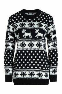 Womens Reindeer Hearts & Snowflake Christmas Jumper - navy - S/M, Navy