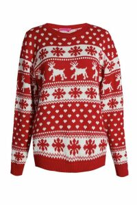 Womens Reindeer Hearts & Snowflake Christmas Jumper - red - M/L, Red