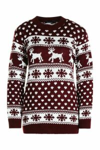Womens Reindeer Hearts & Snowflake Christmas Jumper - red - S/M, Red