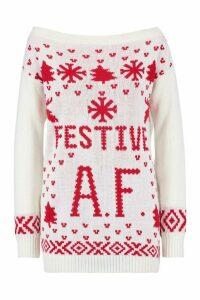 Womens Festive A.F. Christmas Jumper - white - M/L, White