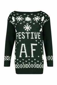 Womens Festive A.F. Christmas Jumper - green - M/L, Green