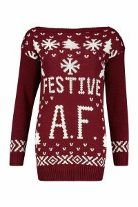 Womens Festive A.F. Christmas Jumper - red - M/L, Red
