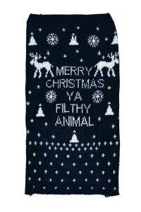 Womens Merry Xmas Ya Filthy Animal Dog Jumper - navy - S, Navy