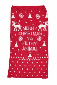 Womens Merry Xmas Ya Filthy Animal Dog Jumper - red - M, Red