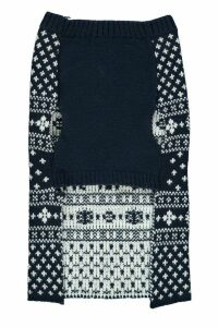 Womens Fairisle Christmas Dog Jumper - navy - M, Navy