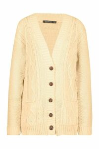 Womens Boyfriend Cardigan - Orange - S/M, Orange