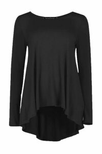 Womens Tall Long Sleeve Basic Swing Tee - black - 14, Black