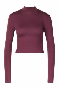 Womens Basic High Neck Long Sleeve Top - red - 16, Red